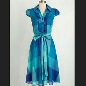 NWOT Modcloth About The Artist Blue Plaid XL